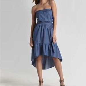 Rout 66 high and low ruffle strapless dress